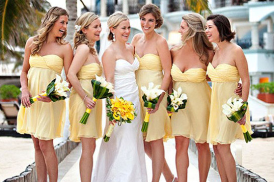 2013-yellow-short-bridesmaid-dress