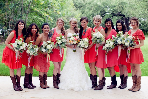 coral-bridesmaid-dresses-with-cowboy-boots