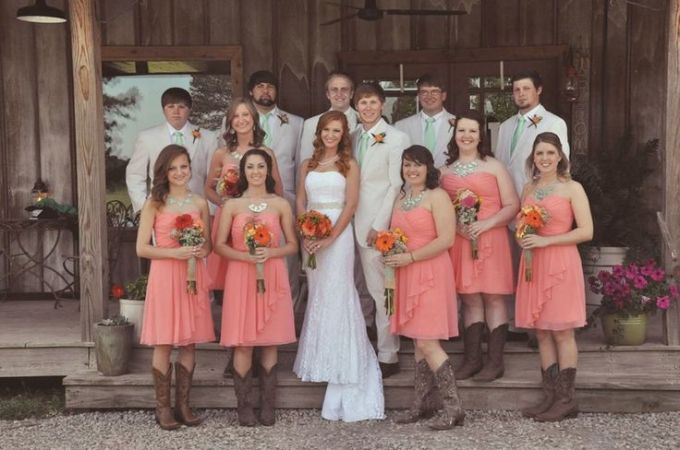 coral-knee-length-bridesmaid-dresses-with-cowboy-boots