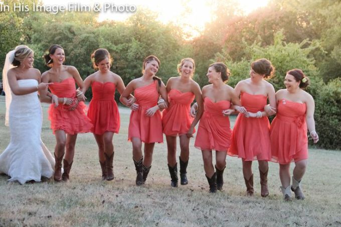 coral-sweetheart-bridesmaid-dresses-with-cowboy-boots