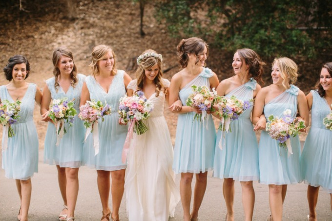 one-shoulder-aqua-blue-bridesmaid-dress
