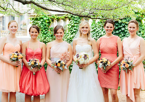 pink-and-coral-bridesmaid-dresses