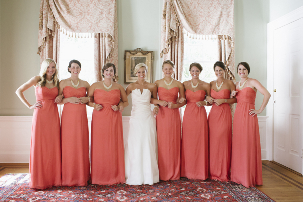 Strapless-Coral-Bridesmaids-Dresses-600x400