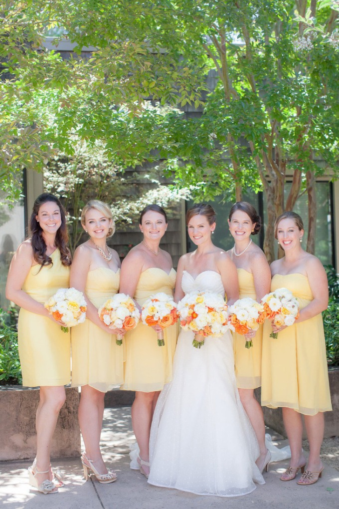 yellow-short-chiffon-bridesmaid-dress