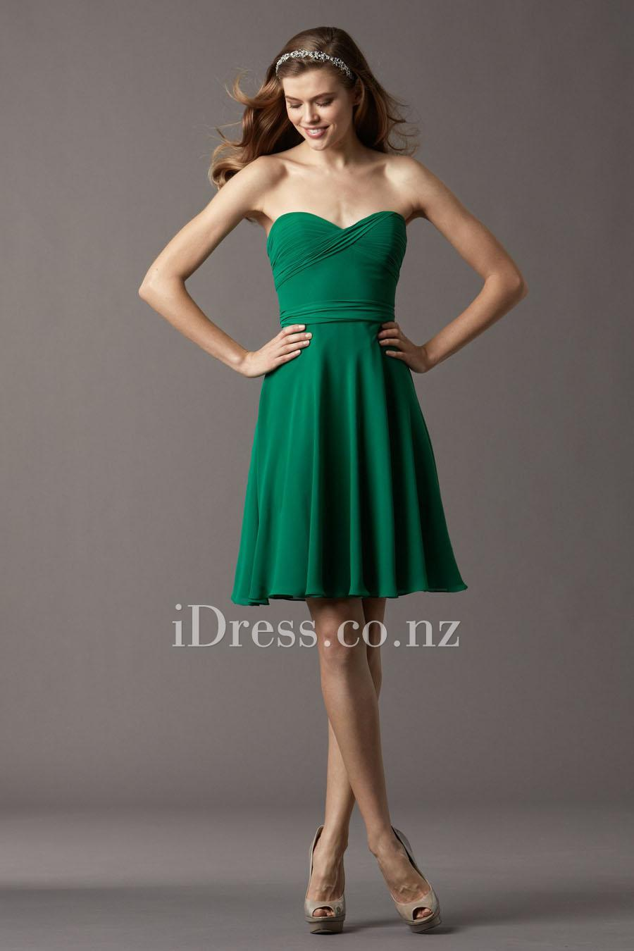 Knee Length Emerald Green Bridesmaids Dresses