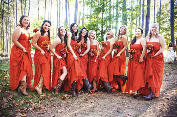 deanna-wedding-orange-bridesmaid-dresses-cowboy-boots