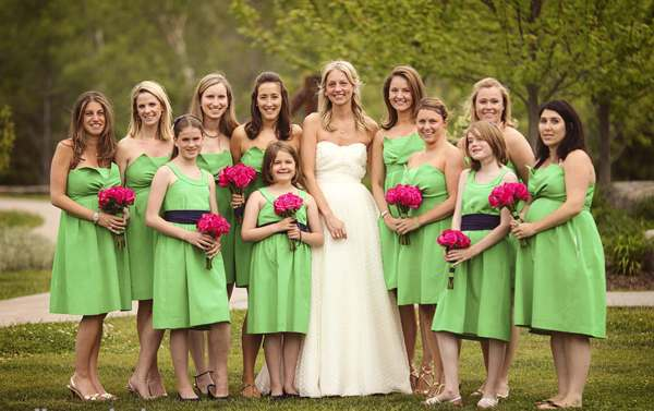 pink-and-green-tea-length-bridesmaid-dresses