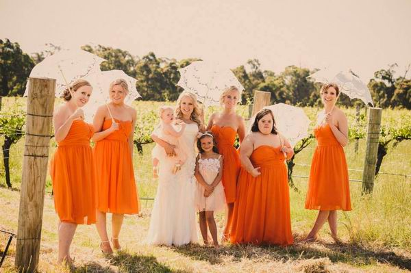real-weddings-orange-bridesmaid-dresses-short