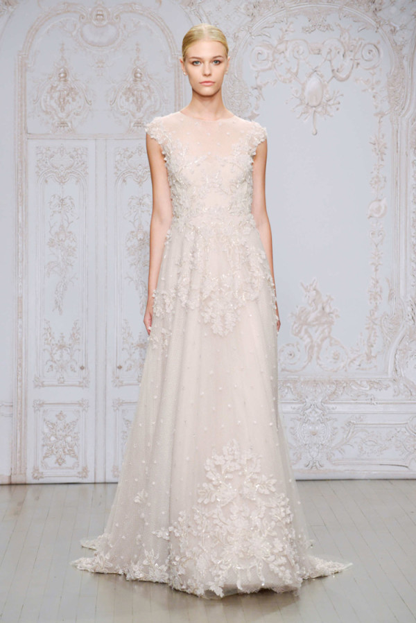 10Monique-Lhuillier-Fall-2015-embellished-lace-and-tulle-A-line-blush-wedding-dress-with-an-illusion-high-neckline-and-cap-sleeves-600x899