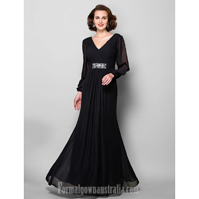 78 795A-line Plus Sizes Dresses Petite Mother of the Bride Dress Black Long Floor-length Long Sleeve Chiffon-800x800.jpg