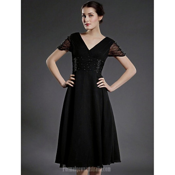 85 760A-line Plus Sizes Dresses Petite Mother of the Bride Dress Black Tea-length Short Sleeve Chiffon Tulle-800x800.jpg
