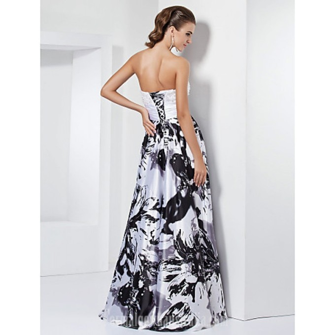 1610 Prom Gowns Australia Formal Evening Dress Military Ball Dress White Black Plus Sizes Dresses Petite A-line Princess Sweetheart Strapless Long Floor-length_4-800x800