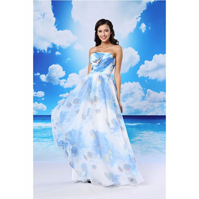 3055A-line Australia Formal Evening Dress Pool White Long Floor-length Strapless Organza Satin-800x800