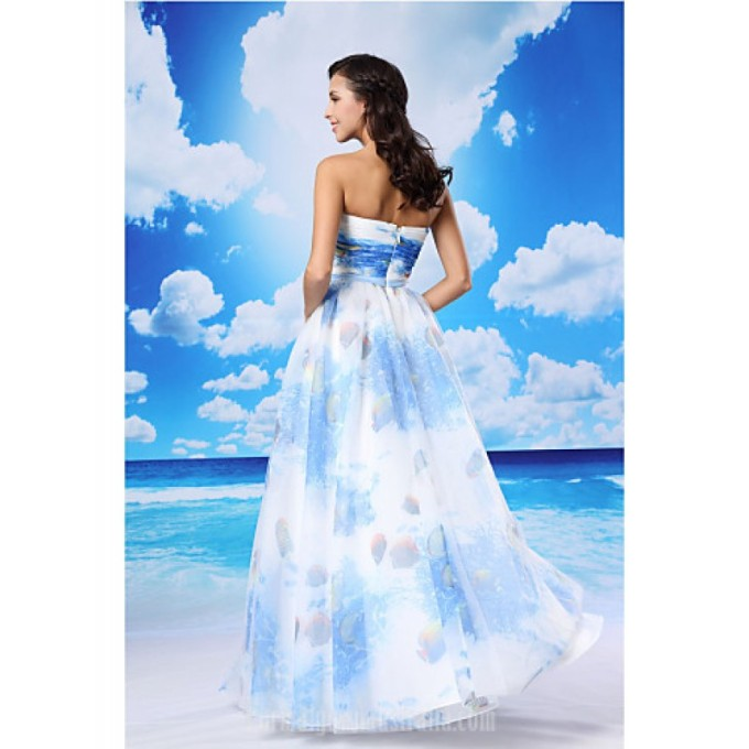 3055A-line Australia Formal Evening Dress Pool White Long Floor-length Strapless Organza Satin_3-800x800
