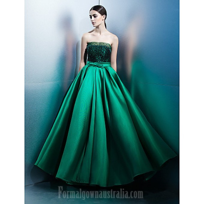 1094 Australia Formal Evening Dress Jade A-line Strapless Long Floor-length Lace Dress Satin-800x800.jpg