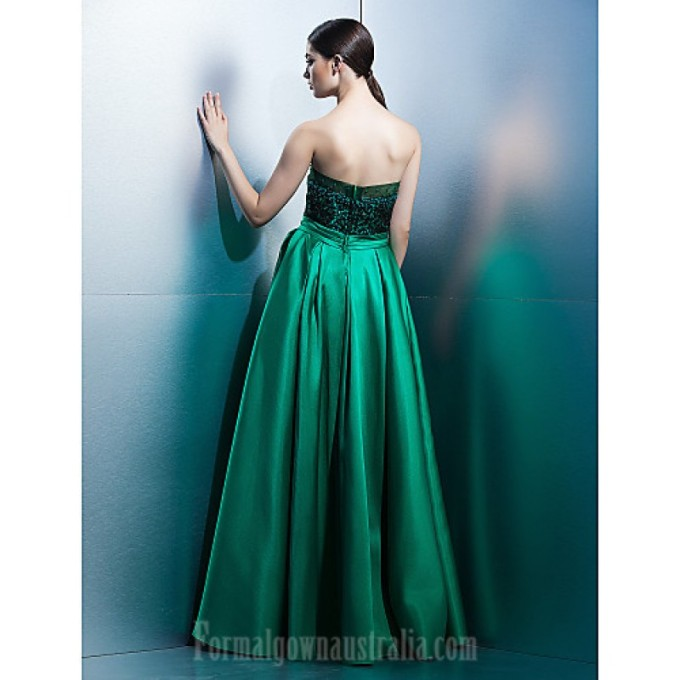 1094 Australia Formal Evening Dress Jade A-line Strapless Long Floor-length Lace Dress Satin_5-800x800