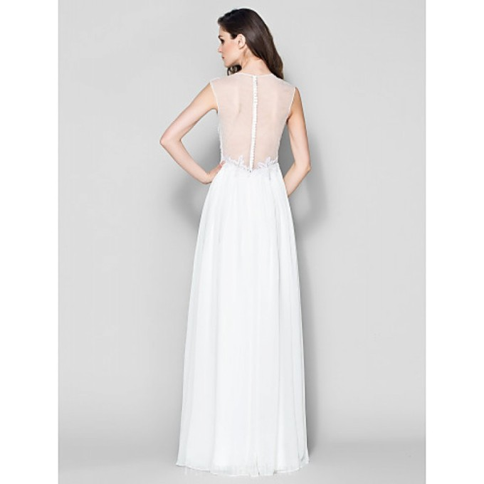 2127 Australia Formal Evening Dress Ivory A-line V-neck Long Floor-length Chiffon_5-800x800