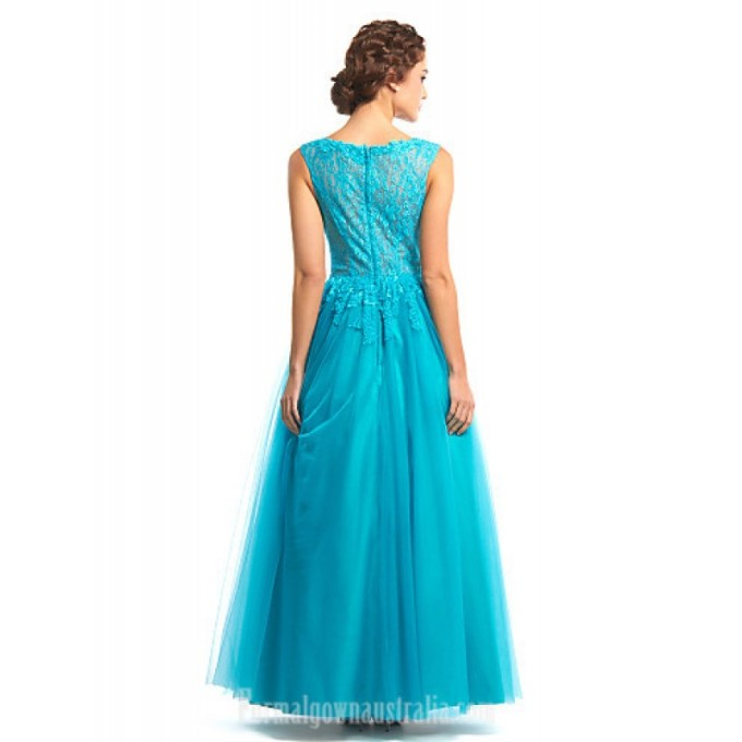 2926 Australia Formal Evening Dress Jade A-line Bateau Long Floor-length Lace Dress Tulle_5-800x800