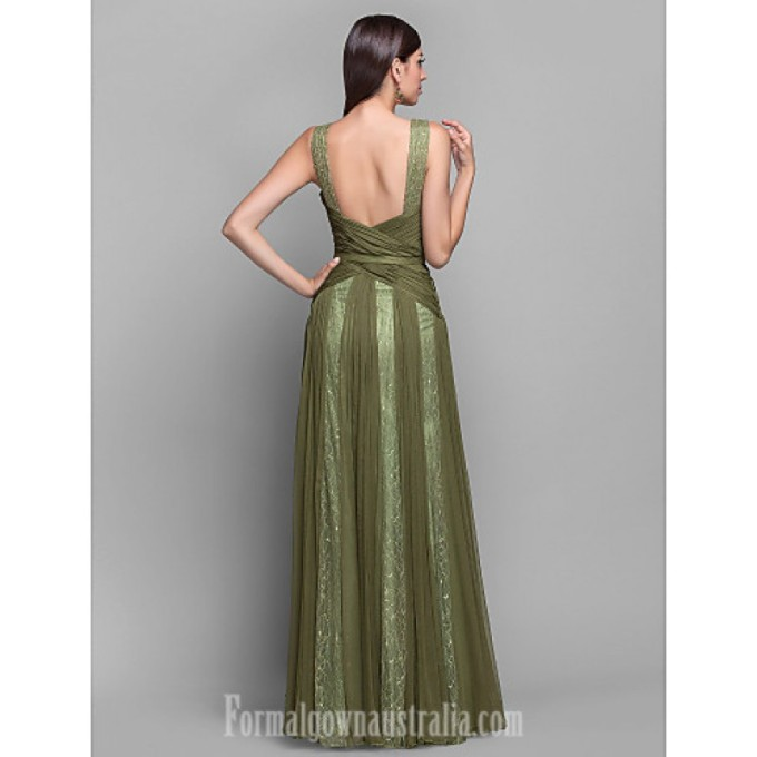 4169 Australia Formal Evening Dress Military Ball Dress Clover Plus Sizes Dresses Petite A-line Princess V-neck Long Floor-length Chiffon Lace_4-800x800