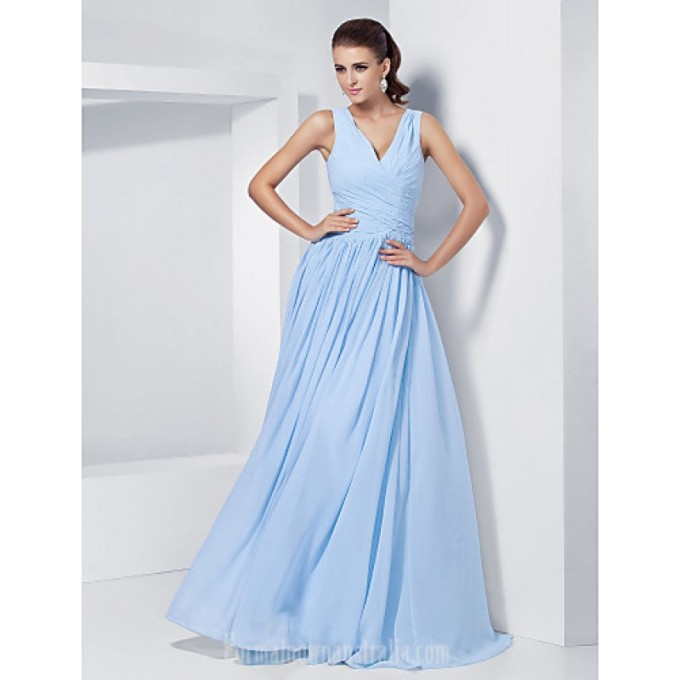 2487 Australia Formal Evening Dress Prom Gowns Military Ball Dress Sky Blue Plus Sizes Dresses Petite A-line Princess V-neck Long Floor-length Chiffon-800x800