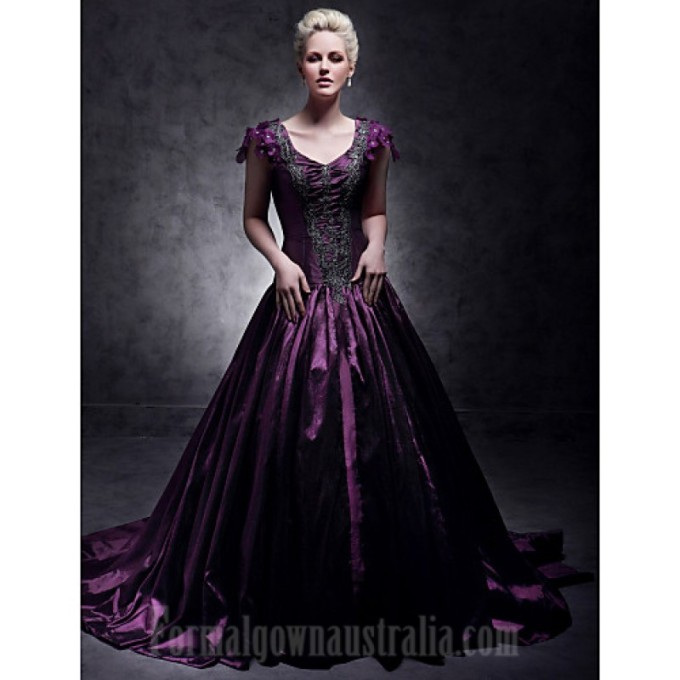 319 Australia Formal Evening Dress Quinceanera Sweet 16 Dress Grape Plus Sizes Dresses Petite Ball Gown A-line Princess V-neck Court Train Taffeta-800x800.jpg
