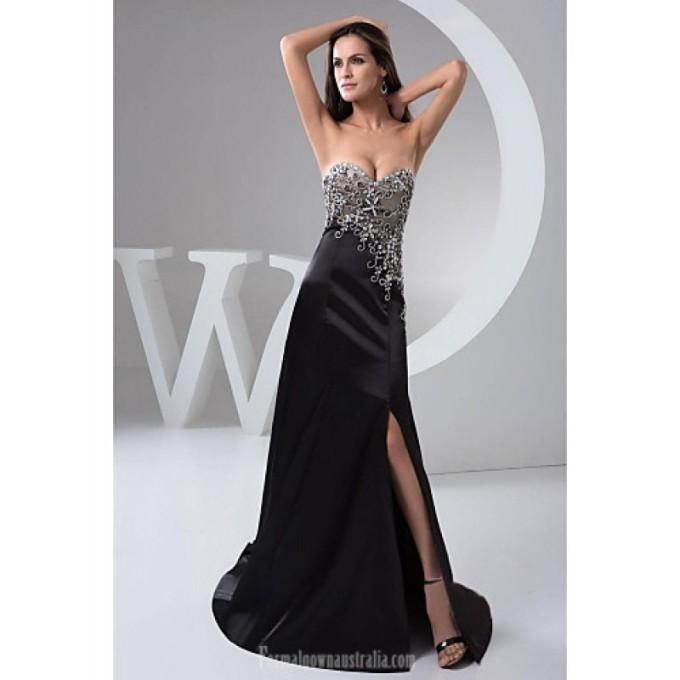 2084Australia Formal Evening Dress Black Petite A-line Sweetheart Long Floor-length Chiffon-800x800