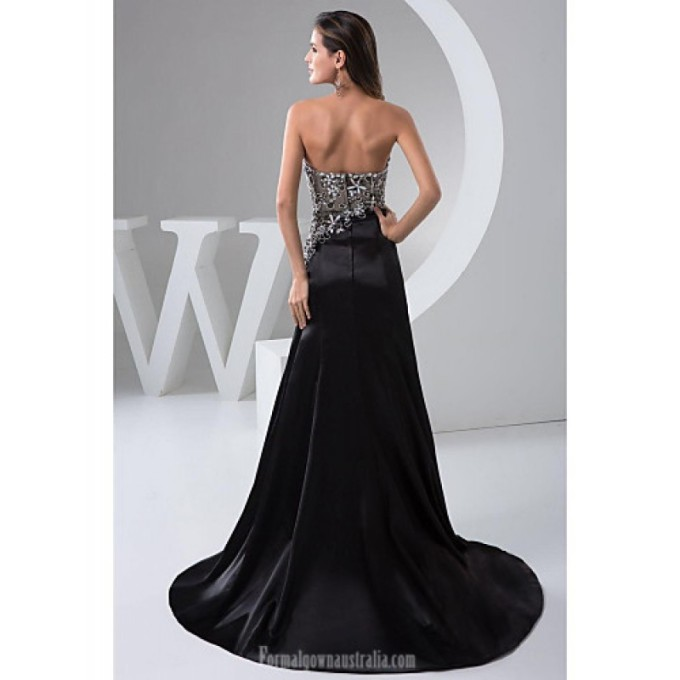 2084Australia Formal Evening Dress Black Petite A-line Sweetheart Long Floor-length Chiffon_2-800x800