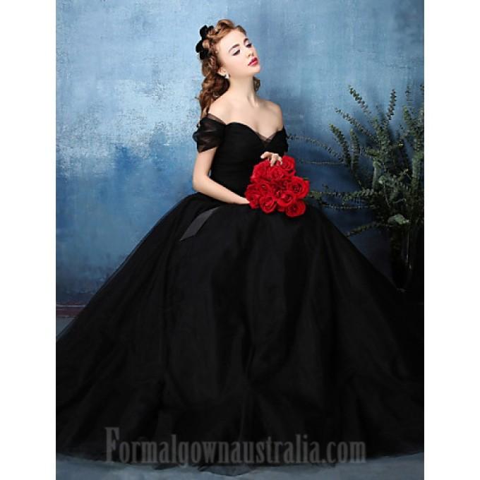 209Australia Formal Evening Dress Jade Black A-line Off-the-shoulder Long Floor-length Tulle Dress Charmeuse-800x800.jpg