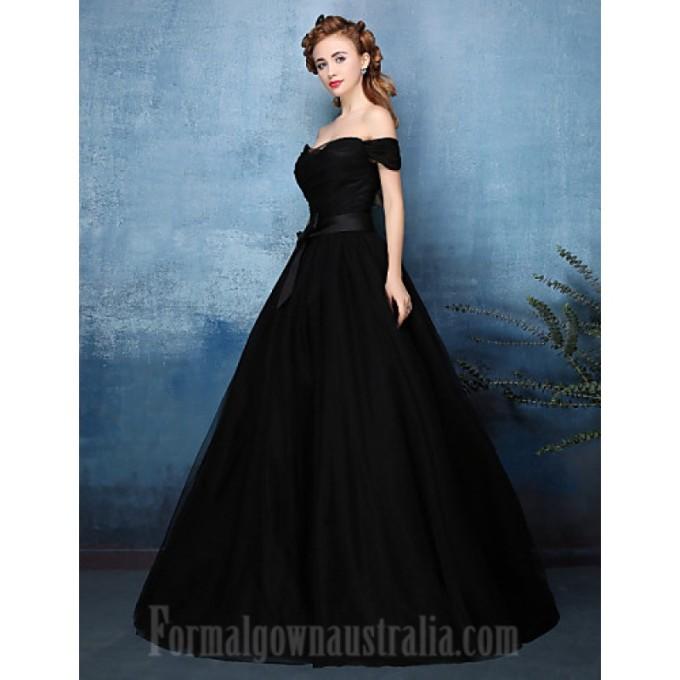 209Australia Formal Evening Dress Jade Black A-line Off-the-shoulder Long Floor-length Tulle Dress Charmeuse_3-800x800