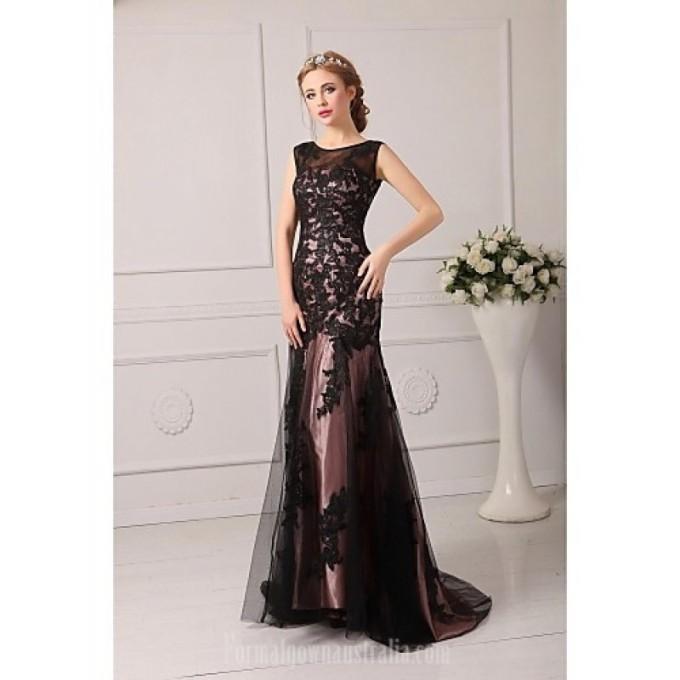 2394Australia Formal Evening Dress Black Plus Sizes Dresses Petite A-line Jewel Court Train Tulle-800x800.jpg