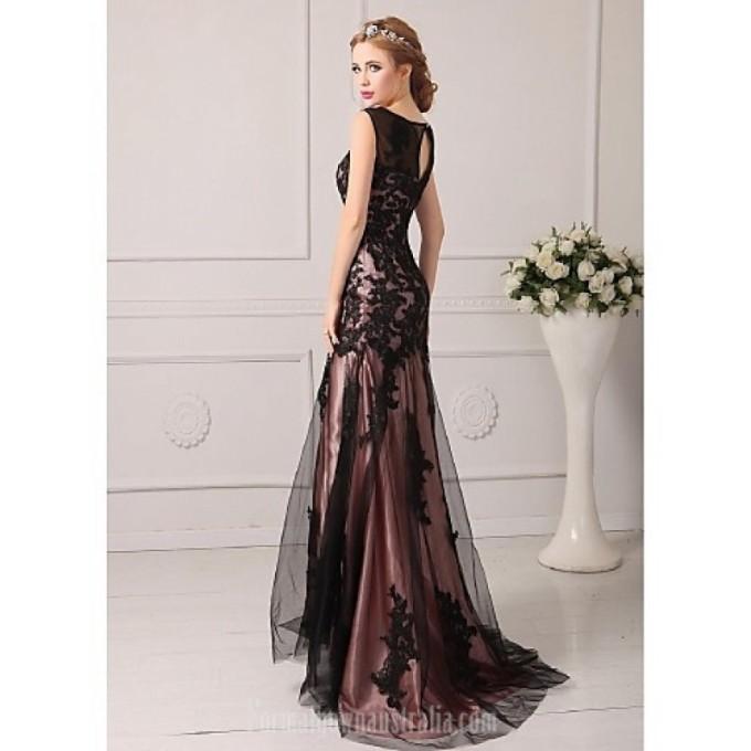 2394Australia Formal Evening Dress Black Plus Sizes Dresses Petite A-line Jewel Court Train Tulle_5-800x800