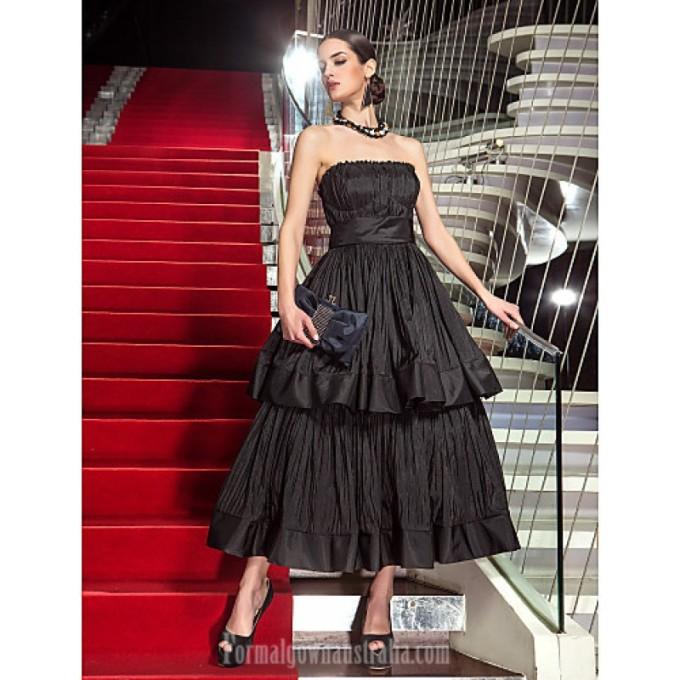 2491Australia Formal Evening Dress Military Ball Dress Black Plus Sizes Dresses Petite A-line Strapless Tea-length Taffeta-800x800.jpg