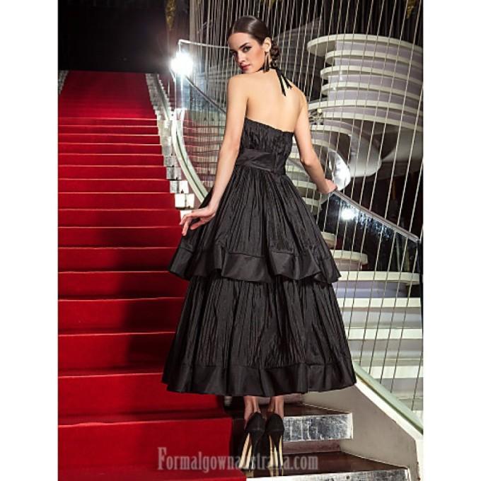 2491Australia Formal Evening Dress Military Ball Dress Black Plus Sizes Dresses Petite A-line Strapless Tea-length Taffeta_3-800x800