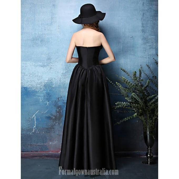 2777Australia Formal Evening Dress Black A-line Strapless Long Floor-length Satin Chiffon_3-800x800