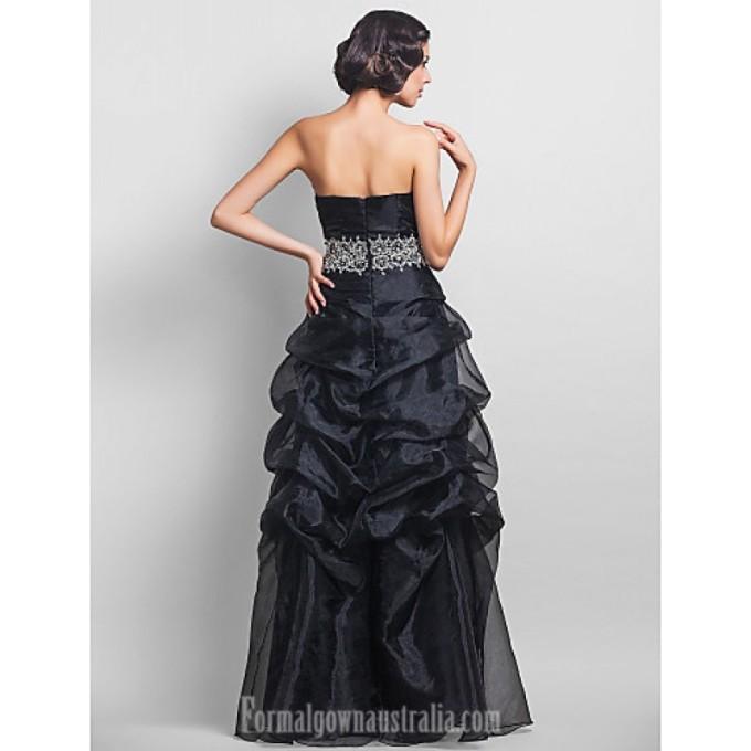 2894Australia Formal Evening Dress Prom Gowns Military Ball Dress Black Plus Sizes Dresses Petite A-line Strapless Long Floor-length Organza_3-800x800