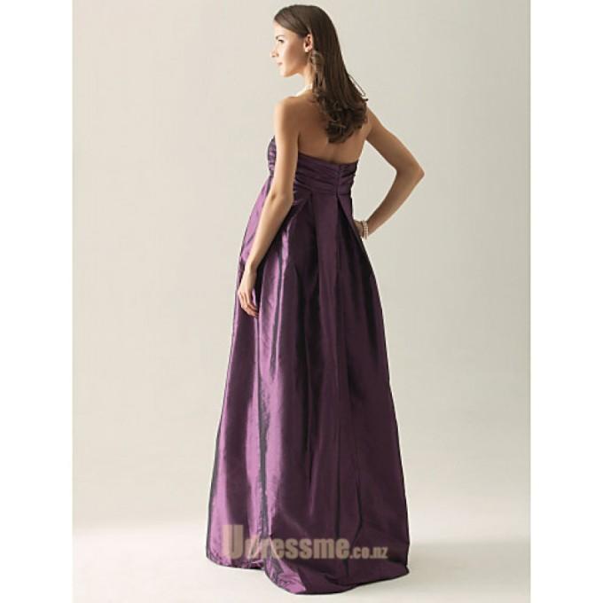4 Simple Floor-Length Purple Chiffon Cocktail Dress Backless Strapless Sleeveless Party Dress -800x800
