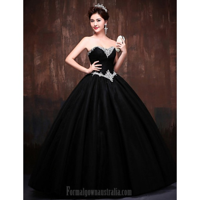510Australia Formal Evening Dress Black Daffodil Petite Ball Gown Sweetheart Long Floor-length Lace Dress Satin Tulle Polyester-800x800