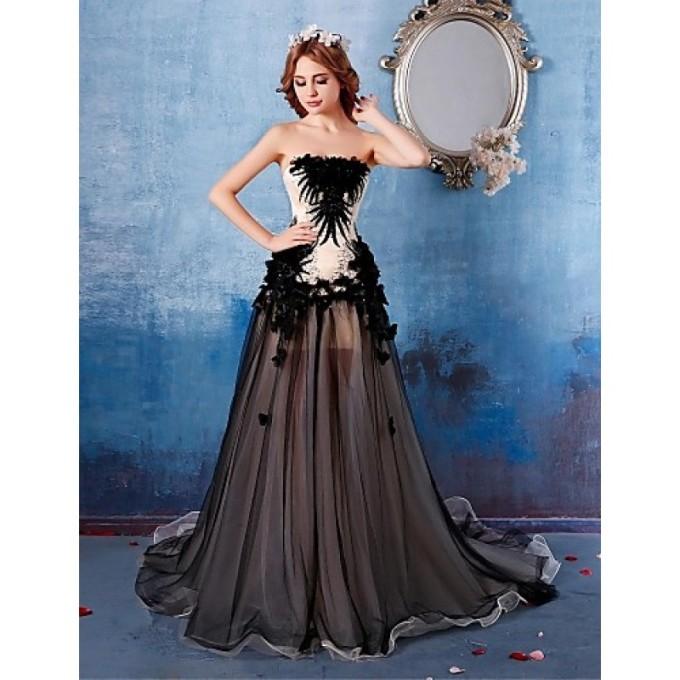 887Australia Formal Evening Dress Black A-line Strapless Chapel Train Satin-800x800.jpg