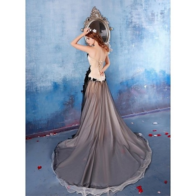 887Australia Formal Evening Dress Black A-line Strapless Chapel Train Satin_4-800x800