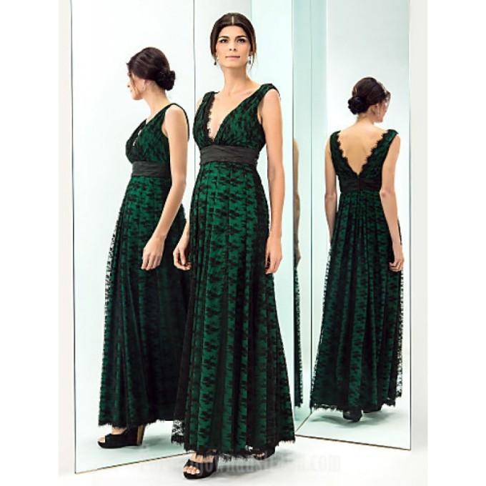 1045 Prom Gowns Military Ball Australia Formal Evening Dress Dark Green Plus Sizes Dresses Petite A-line V-neck Long Floor-length Lace Dress Taffeta_2-800x800.jpg