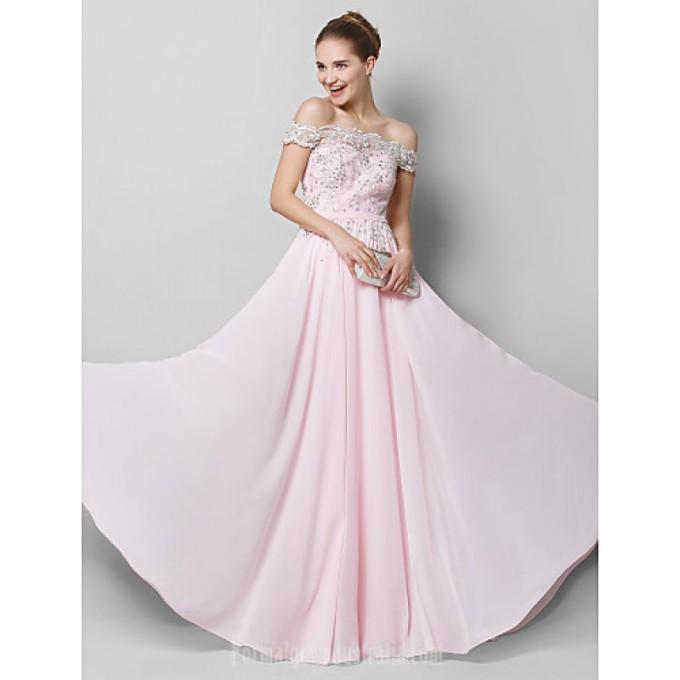 1893 Australia Formal Evening Dress Blushing Pink A-line Off-the-shoulder Long Floor-length Chiffon-800x800.jpg
