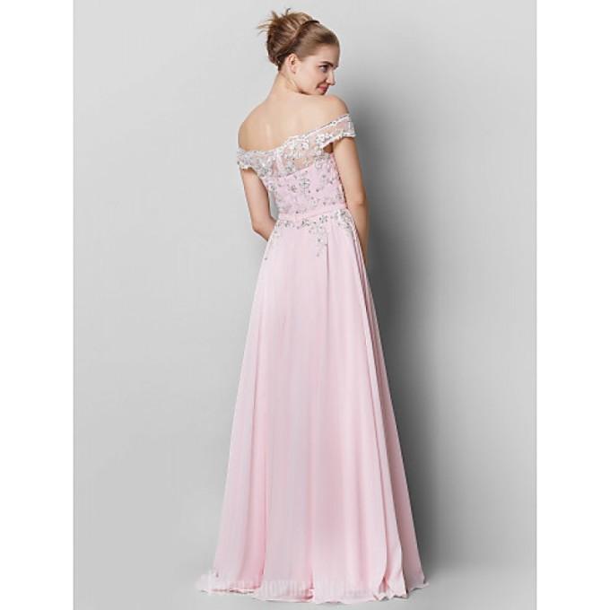 1893 Australia Formal Evening Dress Blushing Pink A-line Off-the-shoulder Long Floor-length Chiffon_3-800x800