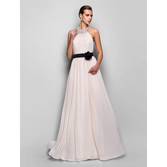 2043 Australia Formal Evening Dress Military Ball Dress Pearl Pink Plus Sizes Dresses Petite A-line Halter Long Floor-length Georgette-800x800