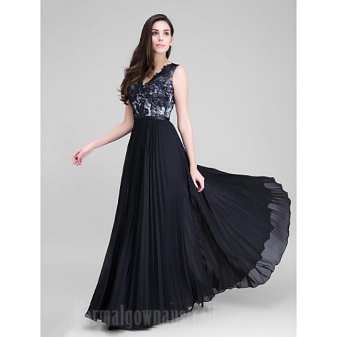248 Australia Formal Evening Dress Black A-line V-neck Long Floor-length Chiffon Lace-800x800.jpg