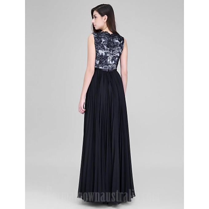 248 Australia Formal Evening Dress Black A-line V-neck Long Floor-length Chiffon Lace_2-800x800
