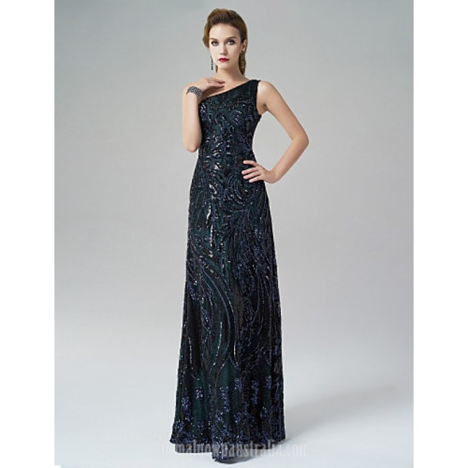 2855Australia Formal Evening Dress Dark Green A-line Sexy One Shoulder Long Floor-length Satin-800x800.jpg