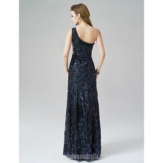 2855Australia Formal Evening Dress Dark Green A-line Sexy One Shoulder Long Floor-length Satin_2-800x800