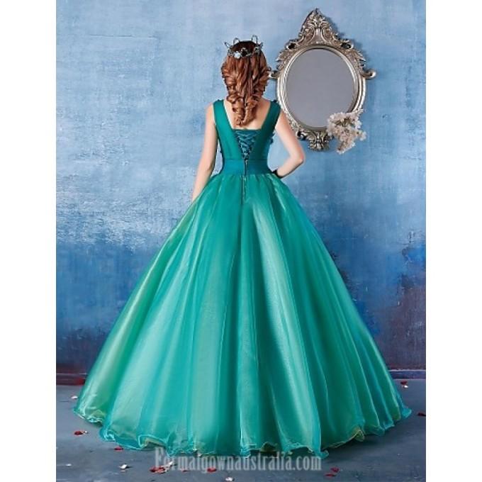 2880Australia Formal Evening Dress Dark Green Ball Gown Scoop Long Floor-length Satin_6-800x800