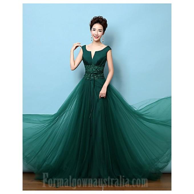 375Australia Formal Evening Dress Dark Green A-line V-neck Court Train Lace Satin-800x800.jpg