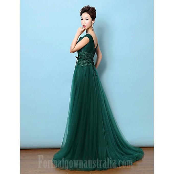 375Australia Formal Evening Dress Dark Green A-line V-neck Court Train Lace Satin_4-800x800